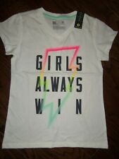 "NWT XERSION WHITE ""GIRLS ALWAYS WIN"" GRAPHIC COTTON BLEND SS TEE:  SIZE 14"