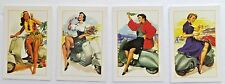 Scooter Vespa Set of 4 Pinup Sexy Girl Modern Postcard 4 X 6 in. Hawaiian Girl