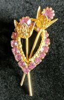 Vintage Rhinestone Pastel Pink Floral Bouquet Gold Filigree Brooch Pin Jewelry