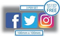 3 x Facebook Twitter Instagram Stickers Car Shop Window Taxi Van Media 100mm