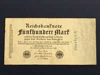 GERMANY - 500 MARK  BANKNOTE 1922-INFLATION - FINE