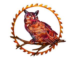 Bard Owl in Sawblade Metal Indoor or Outdoor Wildlife Wall Art