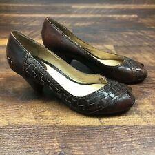 Frye Maya Heels Woven Peep Toe Pumps Brown Leather 73252 size 8 1/2 M Women's