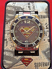 """SUPERMAN: """"S"""" SHIELD METAL BAND MEN'S WATCH IN GIFT TIN by ACCUTIME SUP8019"""
