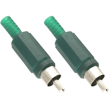 2 Fiches RCA Mâle Couleur Vert Connections à Souder