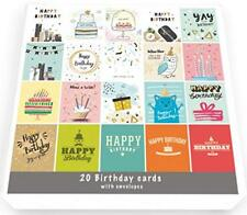 20 x Birthday Cards Multi-Pack | Square Cards 15cm x 15cm | For Him and Her Pack
