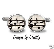 Musical Notes Glass Art Cufflinks Cuff Link Retro Trendy Sheet Music Teacher
