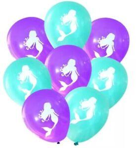 10 x Mermaid Latex Balloons Assorted Birthday Party Kids Theme Girls