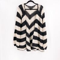 Lucky Brand Womens Cardigan Sweater Size S/M Open Front Alpaca Blend Black Ivory