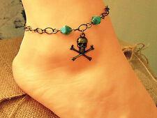 Anklet, Pirate Skull Ankle Bracelet Skull And Crossbones Anklet, Pirate