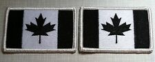 2 CANADA Flag Patch with VELCRO® Brand Fastener  Military B & W Emblem #2