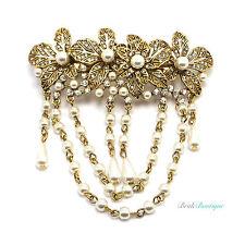 Boho Vintage Gold Flower Crystal & Pearl Hair Chains Barrette Clip Grip Cl20