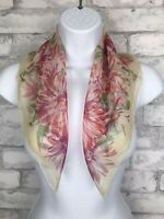 Vintage Scarf Cream And Pink Floral Polyester Semi Sheer Made in Japan 20X21""
