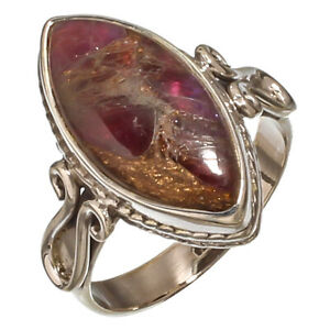 AMETHYST COPPER TURQUOISE GEMSTONE 925 STERLING SILVER HANDMADE JEWELRY RING