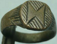 Roman Bronze Hatched Ring