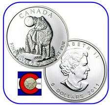 2011 Canada 1 oz Silver Maple Leaf Wolf Roll -- 25 Canadian Coins in Tube