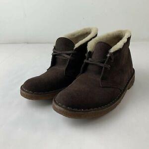 Clarks Originals Women US 5 Brown Suede Chukka Ankle Boot Wool Warm Lining Shoe