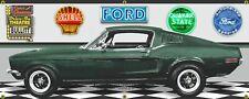 1968 Ford Mustang Fastback Green BULLITT Gar Garage Scene Vinyl Banner.Two sizes