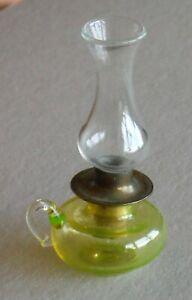 Vintage Dollhouse Miniature Glass Oil Lamp Vaseline Glass P944