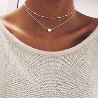 Fashion Double Layers Heart Pendant Necklace Choker Chain Women Jewelry Gifts