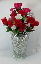 """Anchor Hocking Wexford Floral Centerpiece 10"""" Large Vase Clear Footed Vase"""