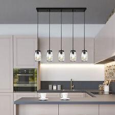5 Light Modern Island Pendant Light Fixture Hanging Ceiling Glass Mason Jar Lamp