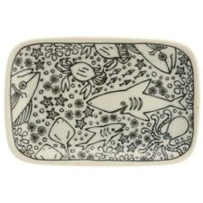 "Japanese Sushi Dish Dinner Appetizer Plate Ceramic 6.5"" x 4.25"" Sea Creatures"