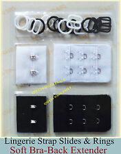 Bra Strap Extender Slides Rings Lingerie Soft Strap Extending Hooks BLACK WHITE