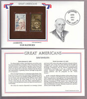 SAM RAYBURN 1962 STAMP ON COVER GREAT AMERICANS with 22 kt GOLD REPLICA