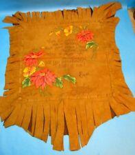 Ocean Park Souvenir 1928 Buckskin Leather Hand Painted Floral Poem Wall 23 x 31