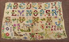 Antique French Floral Alphabet Needlework Sampler 1900