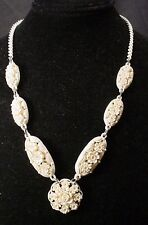 Vintage  OFF White Celluloid Dainty Floral  Necklace