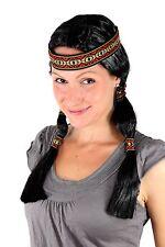 Parrucca Da Festa Indiana, Squaw, nero, Trecce ca 45cm