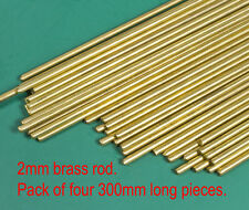4 (four) X 2mm diameter round brass modellers wire rod - 300mm approx lengths.