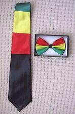 Rasta Stripes Adjustable Bow Tie & Thick Rasta Stripes Necktie 420 Combo-New!V4