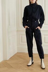 Anthropologie AGOLDE Ina High Collar Jumpsuit Utility Black Denim Belted NWT 4