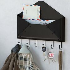 Wall Mount Mail Sorter Letter Key Holder Hook Storage Rack Organizer Black New
