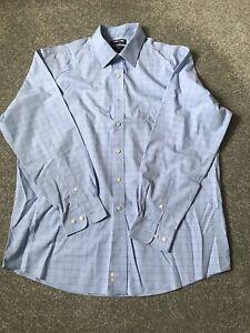 Kirkland Blue And White Check Long Sleeve Non Iron Shirt Neck 17.5