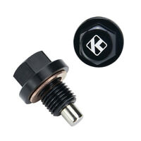 Aluminum M12 x 1.25 Engine Magnetic Oil Pan Drain Plug Bolt With Washer Black