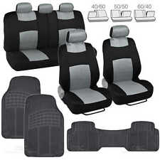 3 Pc Plush Solid Black Rubber - 9 Pc Sporty Spacer Mesh Gray Cloth Seat Cover