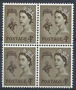 Guernsey 1968 Sc# 5 Lily & Crown 4p olive Queen Elizabeth GB block 4 MNH