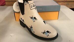 Waterproof Anti-Slipping Rain Shoes Chelsea Booties White French Bulldog Size 7
