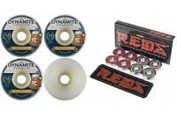 Dynamite Forever 54mm Conical Beer 101 Skateboard Wheels + Bones Reds Bearings