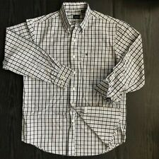 IZOD Men's Long Sleeve White Black Plaid Button Down Shirt Size Medium