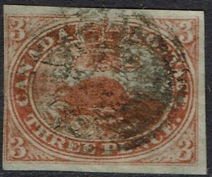 CANADA 1852 BEAVER 3D IMPERF USED