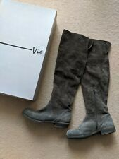 Vic Matie Designer Dark Grey Butter Soft Leather Over The Knee Boots Italy 38 5