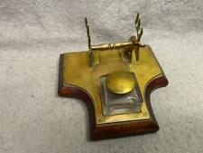 ANTIQUE GLASS BRASS AND WOOD INKWELL  C1880S DEER DESIGN