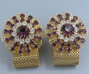 Mens Vintage Jewelry LARGE PURPLE CRYSTAL FLOWER MESH WRAP AROUND CUFFLINKS P28