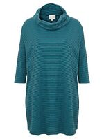 East Stripe Cowl Neck Cotton Top, Teal - Various Sizes  - RRP £49 -  BNIP