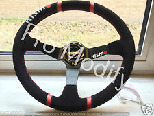 Universal NISMO Drifting Style 350mm Suede Deep Dish Steering Wheel w/ Red Rings